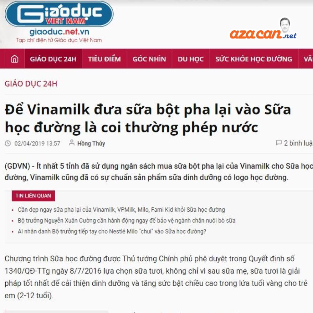 xử lý khủng hoảng truyền thông Vinamilk Aza Can Nguyễn Đình Bình